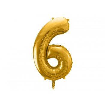 """Balon foliowy metalizowany złoty 86cm cyfra """"6"""""""