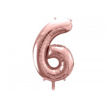 """Balon foliowy metalizowany różowe złoto 86cm cyfra """"6"""""""