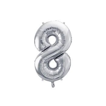 """Balon foliowy metalizowany srebrny 86cm cyfra """"8"""""""