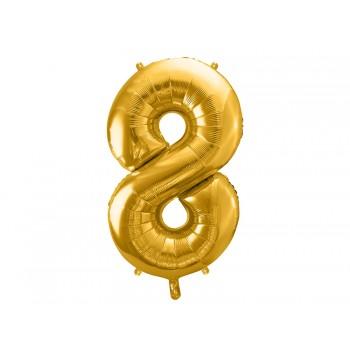 """Balon foliowy metalizowany złoty 86cm cyfra """"8"""""""