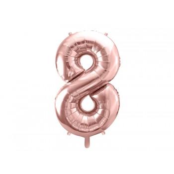 """Balon foliowy metalizowany różowe złoto 86cm cyfra """"8"""""""