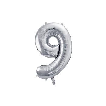"""Balon foliowy metalizowany srebrny 86cm cyfra """"9"""""""