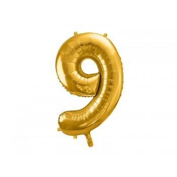 """Balon foliowy metalizowany złoty 86cm cyfra """"9"""""""