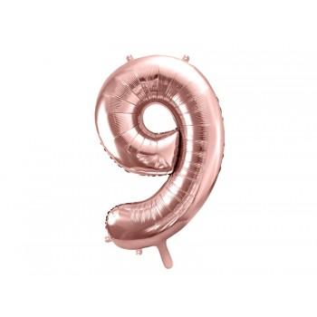 """Balon foliowy metalizowany różowe złoto 86cm cyfra """"9"""""""