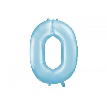 """Balon foliowy pastelowy jasny niebieski 86cm cyfra """"0"""""""