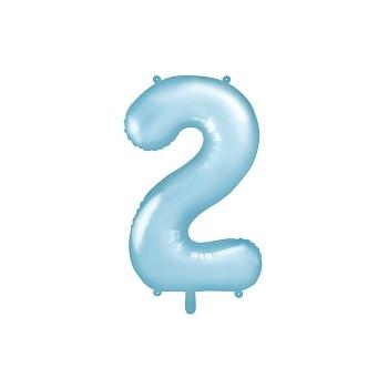 """Balon foliowy pastelowy jasny niebieski 86cm cyfra """"2"""""""