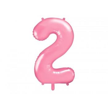 """Balon foliowy pastelowy różowy 86cm cyfra """"2"""""""