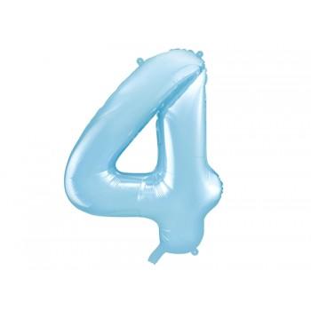 """Balon foliowy pastelowy jasny niebieski 86cm cyfra """"4"""""""