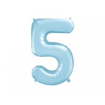 """Balon foliowy pastelowy jasny niebieski 86cm cyfra """"5"""""""