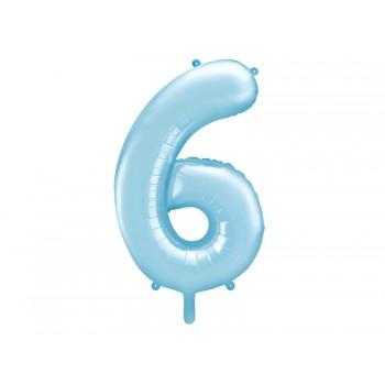 """Balon foliowy pastelowy jasny niebieski 86cm cyfra """"6"""""""
