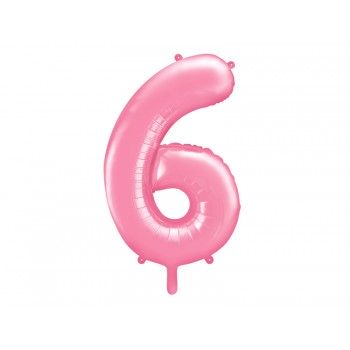 """Balon foliowy pastelowy różowy 86cm cyfra """"6"""""""