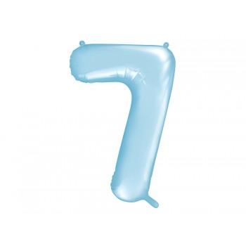 """Balon foliowy pastelowy jasny niebieski 86cm cyfra """"7"""""""