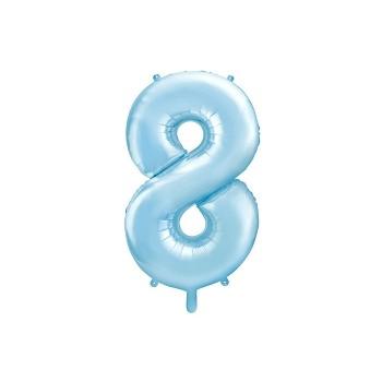 """Balon foliowy pastelowy jasny niebieski 86cm cyfra """"8"""""""