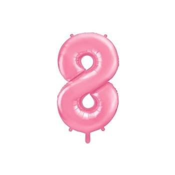 """Balon foliowy pastelowy rózowy 86cm cyfra """"8"""""""