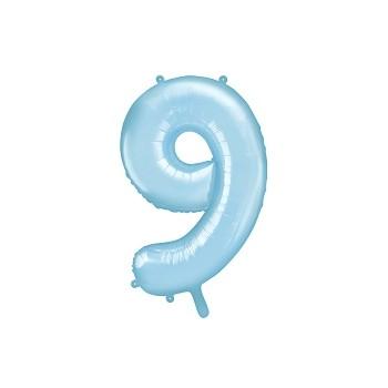 """Balon foliowy pastelowy jasny niebieski 86cm cyfra """"9"""""""