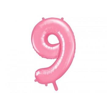 """Balon foliowy pastelowy różowy 86cm cyfra """"9"""""""