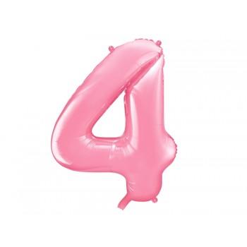 """Balon foliowy pastelowy różowy 86cm cyfra """"4"""""""